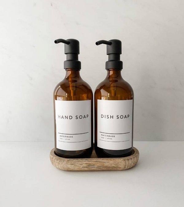 16 oz Amber Dish Soap Apothecary Dispenser Bottles Metal Pump The Watermark Shop (2)