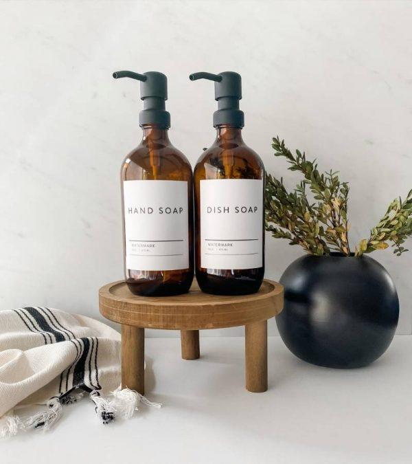 16 oz Amber Lotion Apothecary Dispenser Bottles Metal Pump The Watermark Shop (3)